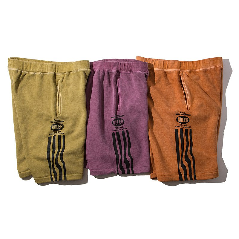 RULER(ルーラー) ショーツPIGMENT-DYE SWEAT SHORTS(Orange, Plum, Olive Green) ●PNT RULER2019夏/190627