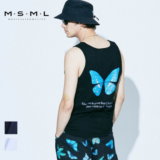 即日発送MSML/BUTTERFLY GRAPHIC TANK TOP/M11-02A1-CS02 MSML2021SS