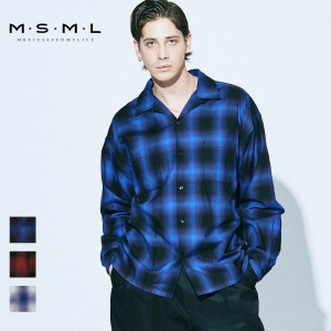 即日発送MSML/OMBRER CHECK OPEN COLLAR LONG SLEEVE SHIRT/M11-02A1-SL03 MSML2021SS