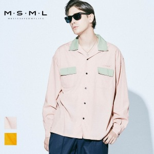 即日発送MSML/BI-COLOR OPEN COLLAR LONG SLEEVE SHIRT/M11-02A1-SL04 MSML2021SS