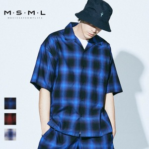 即日発送MSML/OMBRER CHECK OPEN COLLAR SHORT SLEEVE SHIRT/M11-02A1-SS03 MSML2021SS