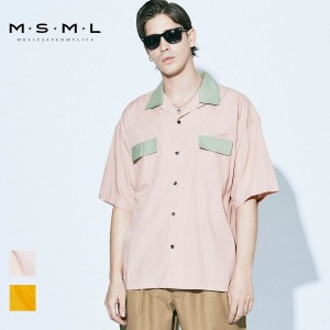 即日発送MSML/BI-COLOR OPEN COLLAR SHORT SLEEVE SHIRT/M11-02A1-SS04 MSML2021SS